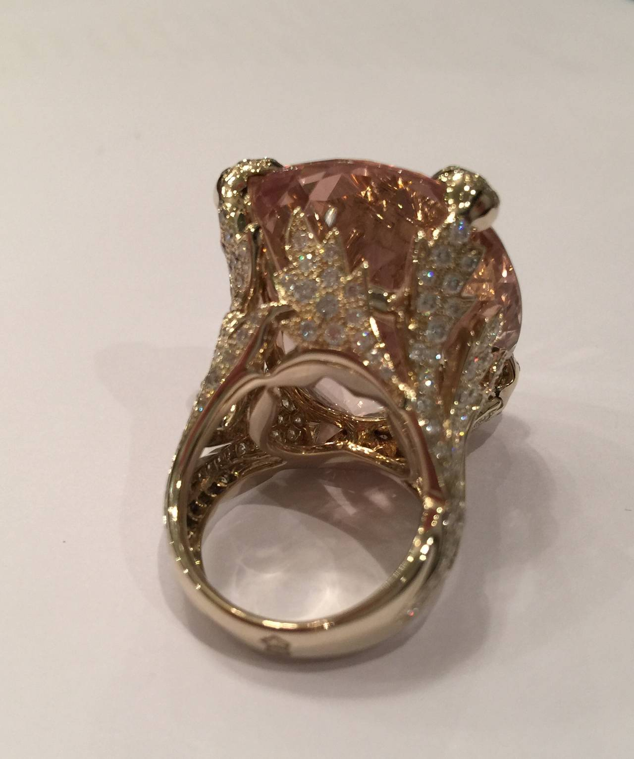 Modern Christian Dior Beautiful Miss Dior Morganite Diamond Gold Ring For Sale