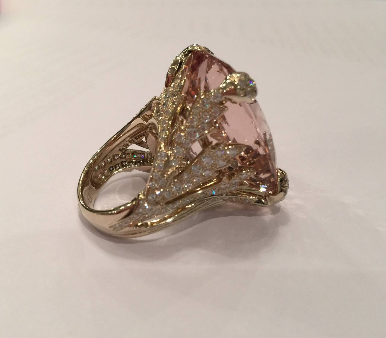 Christian Dior Beautiful Miss Dior Morganite Diamond Gold Ring For Sale 2