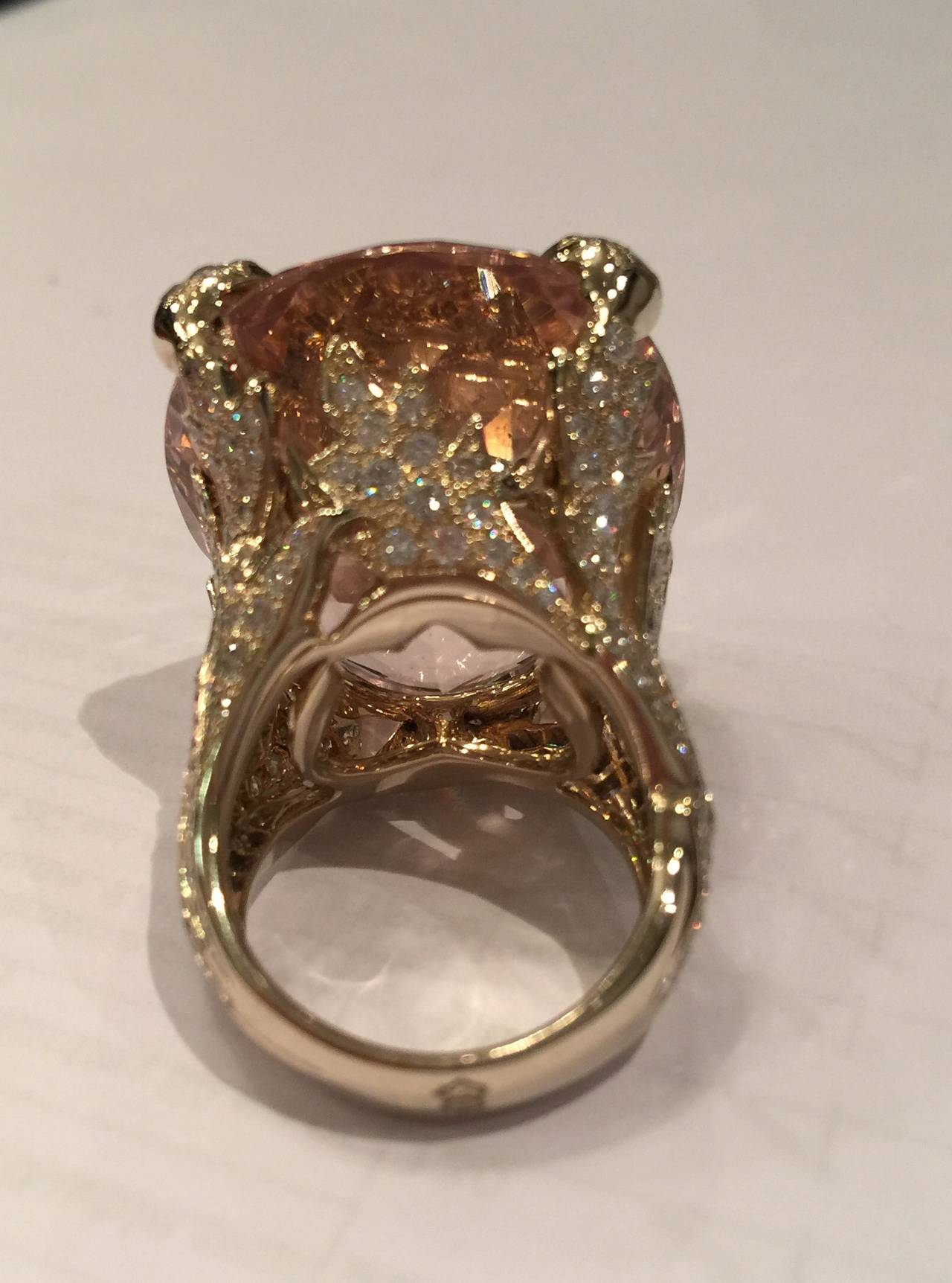 Christian Dior Beautiful Miss Dior Morganite Diamond Gold Ring For Sale 4