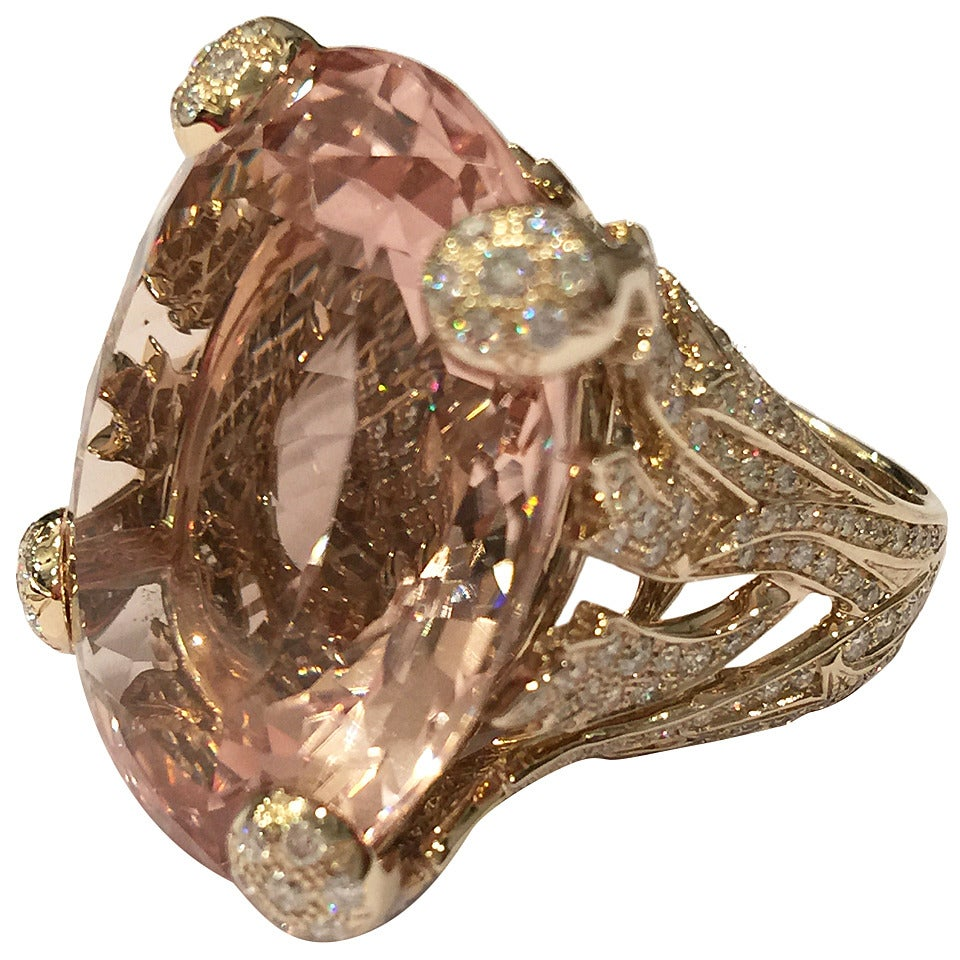 Christian Dior Beautiful Miss Dior Morganite Diamond Gold Ring For Sale