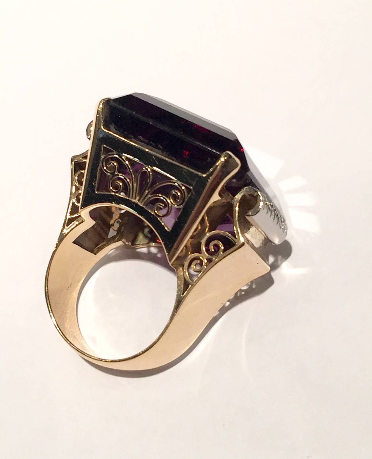 6e1f7c7687494 Spectacular 1950s Large Amethyst Gold Cocktail Ring