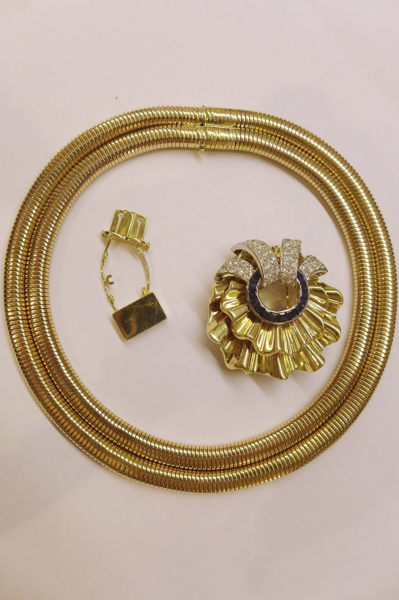 Spectacular 1940s Sapphire Diamond Gold Platinum Necklace 4