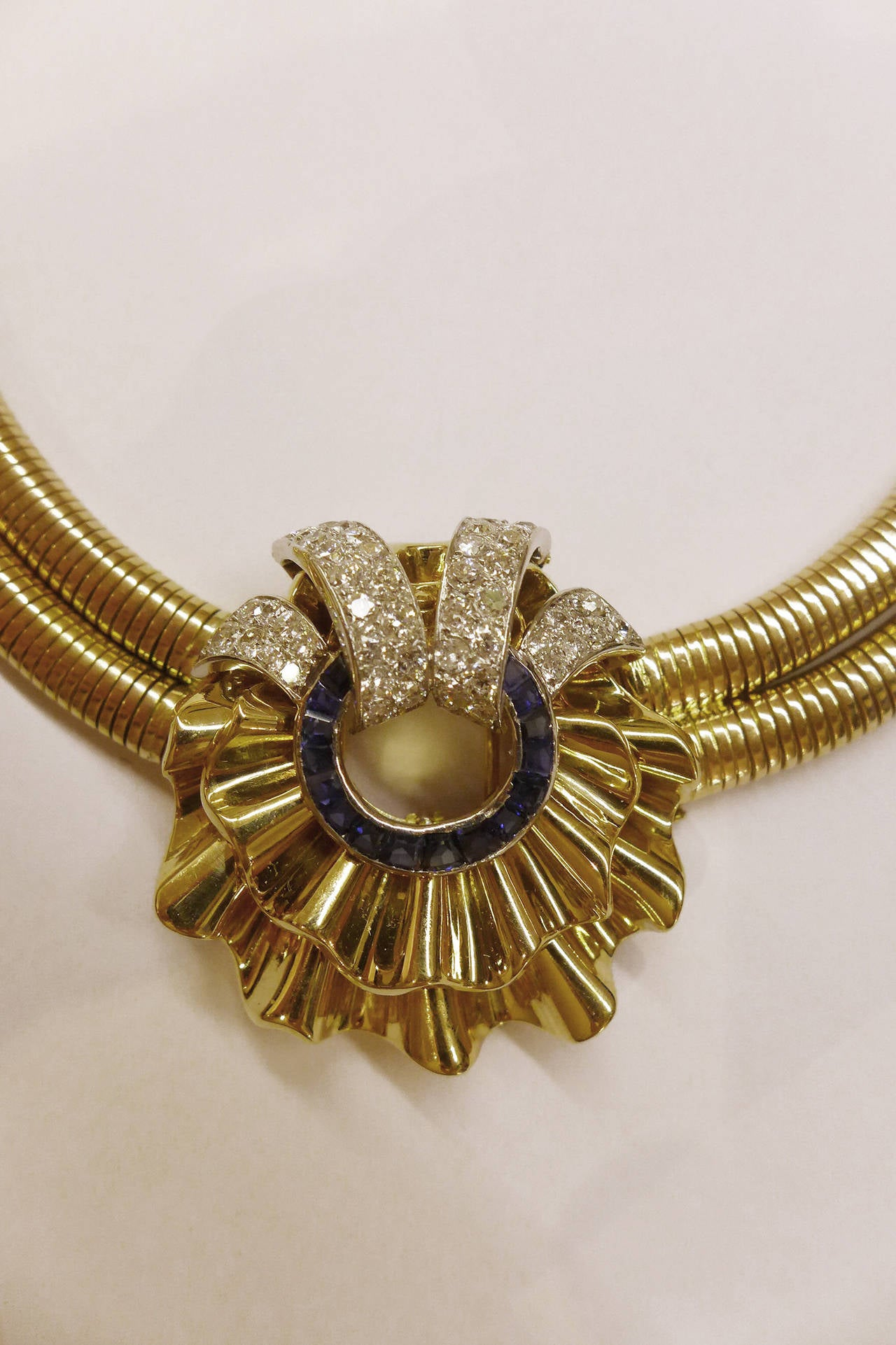 Spectacular 1940s Sapphire Diamond Gold Platinum Necklace 6