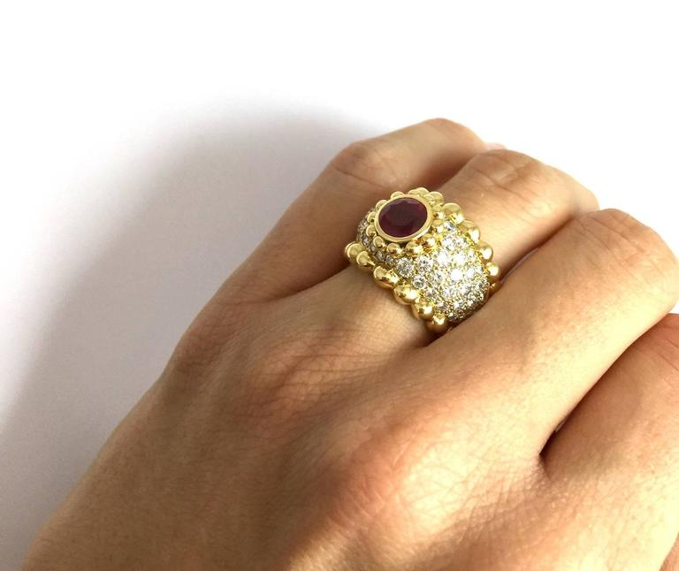 Chanel Ruby Diamond Gold Ring  4