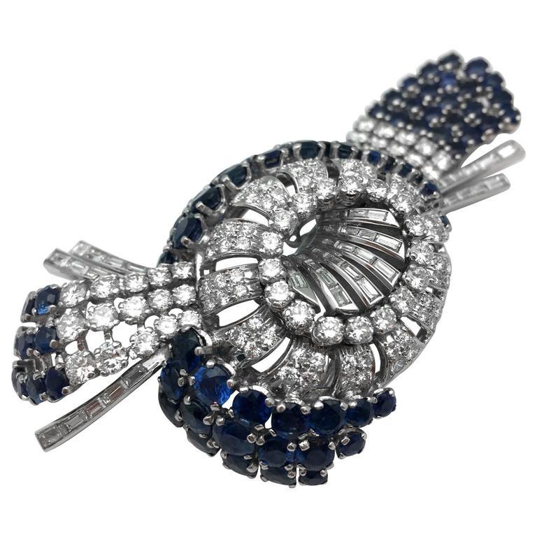 1960s Platinum Sapphire and Diamond Brooch
