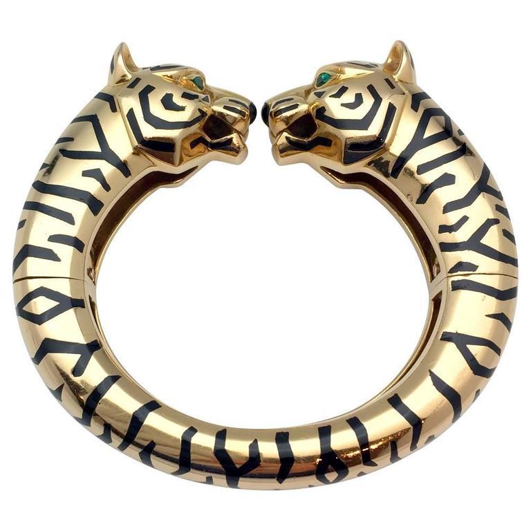 Cartier Paris Emerald Gold Panthère Collection Bangle Bracelet