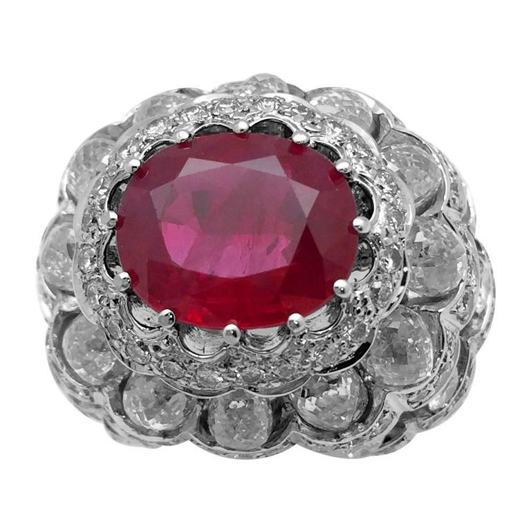 White Gold Dome Ring Set with an Oval Ruby and Diamonds For Sale
