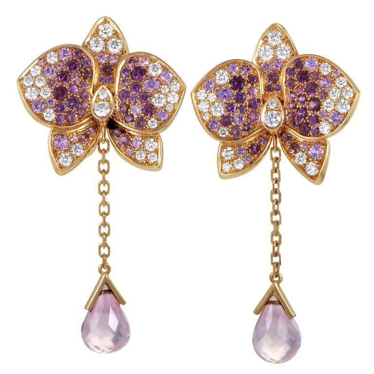 Cartier Earrings Pink Sapphires and Diamonds Caresse D'orchidées For Sale