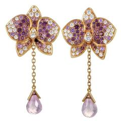 Cartier Rose Pink Sapphires Diamonds Gold Caresse D'orchidées Earrings