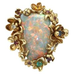 Dior Opal Diamond Gems Gold Ring