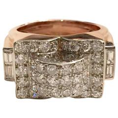 Retro Diamond Gold Platinum Ring