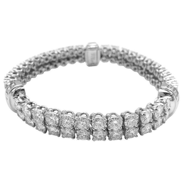 Platinum Cartier Bracelet Calypso Collection Set with Diamonds.