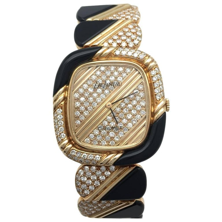 Chaumet Ladies Yellow Gold Diamond Onyx Delaneau Wristwatch