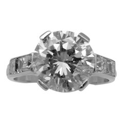 Platinum Solitaire 3.31 Carat Brilliant-Cut Diamond