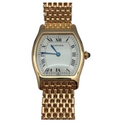 Cartier Yellow Gold Tortue Cream Colored Dial Manual Wristwatch