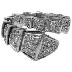 "White Gold Bulgari Ring ""Serpenti"" Collection, Diamonds"