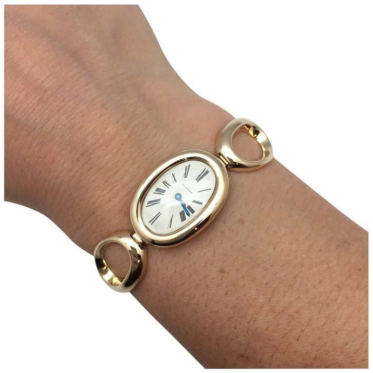 cartier ladies yellow gold vintage baignoire manual bracelet wristwatch at 1stdibs. Black Bedroom Furniture Sets. Home Design Ideas