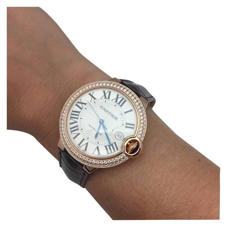 Cartier Pink Gold Diamond Ballon Bleu Self Winding Wristwatch 3