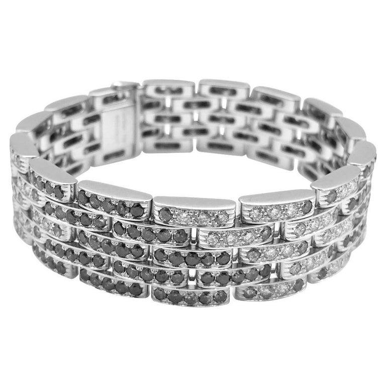 "White Gold Cartier Bracelet, ""Panthère Sauvage"" Collection Set with Diamonds"