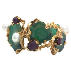 Yellow Gold Gilbert Albert Bracelet, Emeralds, Rubies and Pearls