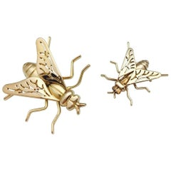 Yellow Gold Pair of Boucheron Fly Brooches