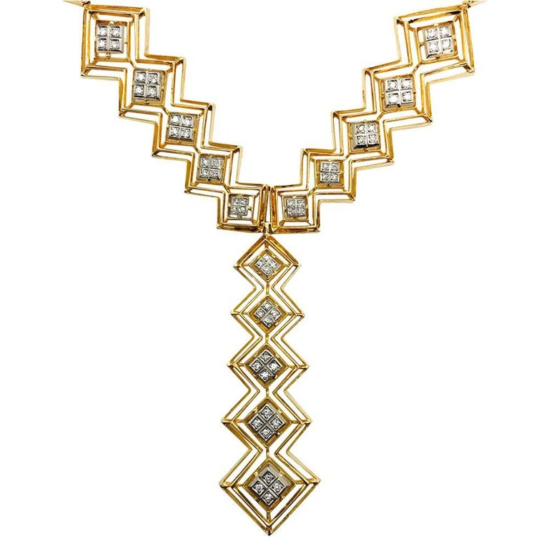 Ilias Lalaounis Diamond Yellow Gold Tie Necklace In Excellent Condition For Sale In Paris, IDF