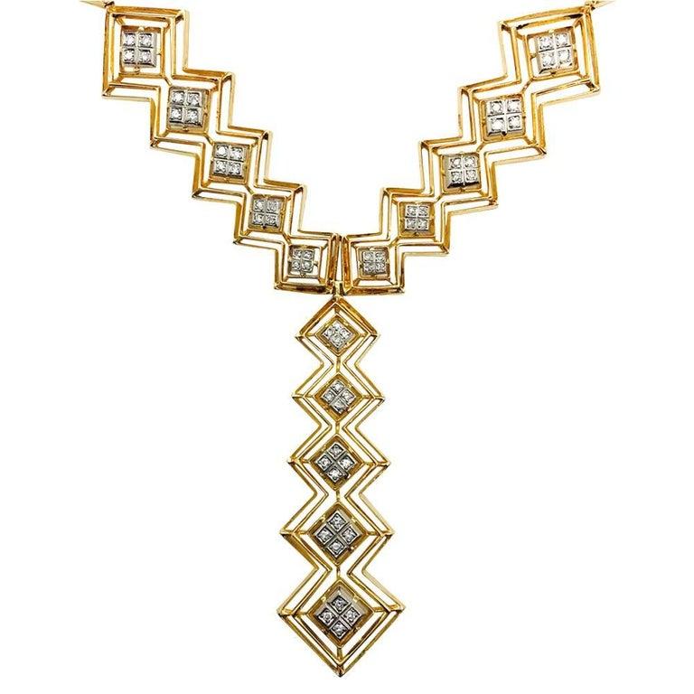 Women's or Men's Ilias Lalaounis Diamond Yellow Gold Tie Necklace For Sale