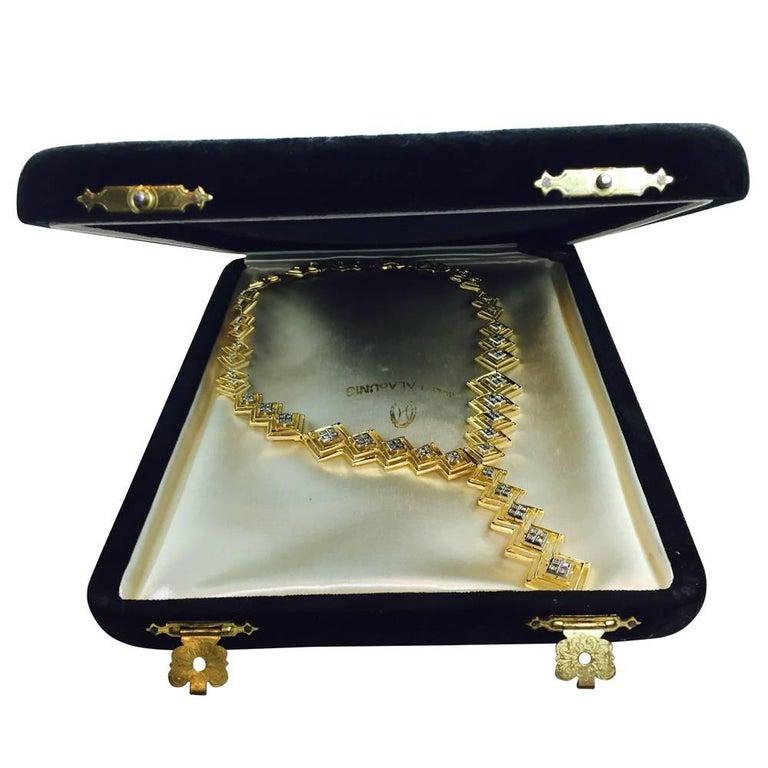 Ilias Lalaounis Diamond Yellow Gold Tie Necklace For Sale 5
