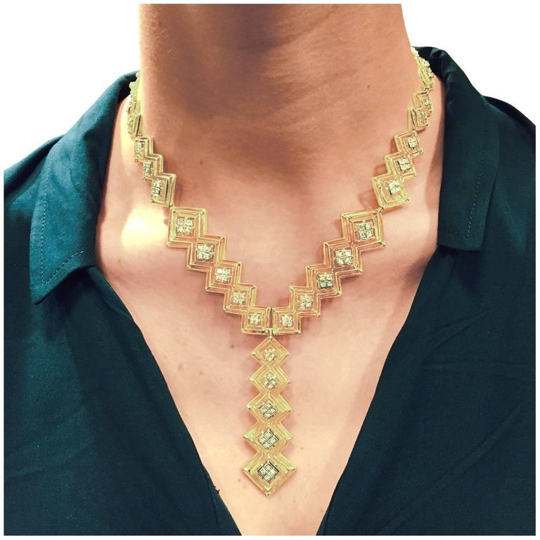 Contemporary Ilias Lalaounis Diamond Yellow Gold Tie Necklace For Sale