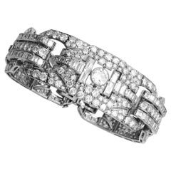 Platinum Art Deco Bracelet All Set with Diamonds