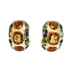 "Yellow Gold Chanel Earrings, ""Coco"" Collection, Set with Gemstones"