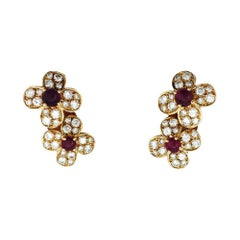 "Yellow Gold Van Cleef & Arpels ""Flowers"" Earrings, Diamonds and Rubies"