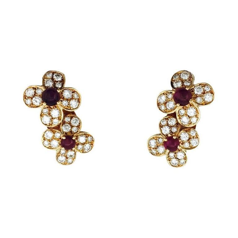 """Yellow Gold Van Cleef & Arpels """"Flowers"""" Earrings, Diamonds and Rubies"""