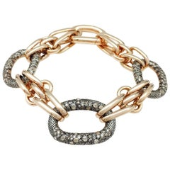 "Pink Gold and Sterling Silver Pomellato Bracelet, ""Tango"" Collection, Diamonds"