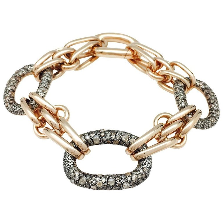 """Pink Gold and Sterling Silver Pomellato Bracelet, """"Tango"""" Collection, Diamonds"""