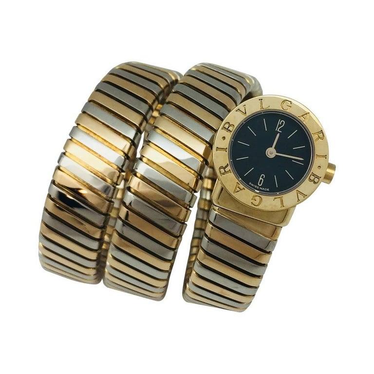Bulgari yellow and white gold Vintage Snake tubogaz Quartz Wristwatch