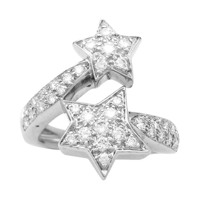 Comet Chanel Ring, White Gold and Diamonds