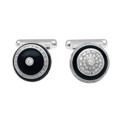 "White Gold Chanel Cufflinks, ""1932"" Collection, Onyx and Diamonds"