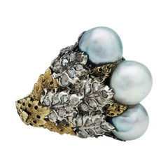 Two-Color of Gold Buccellati Ring, Pearls and Diamonds