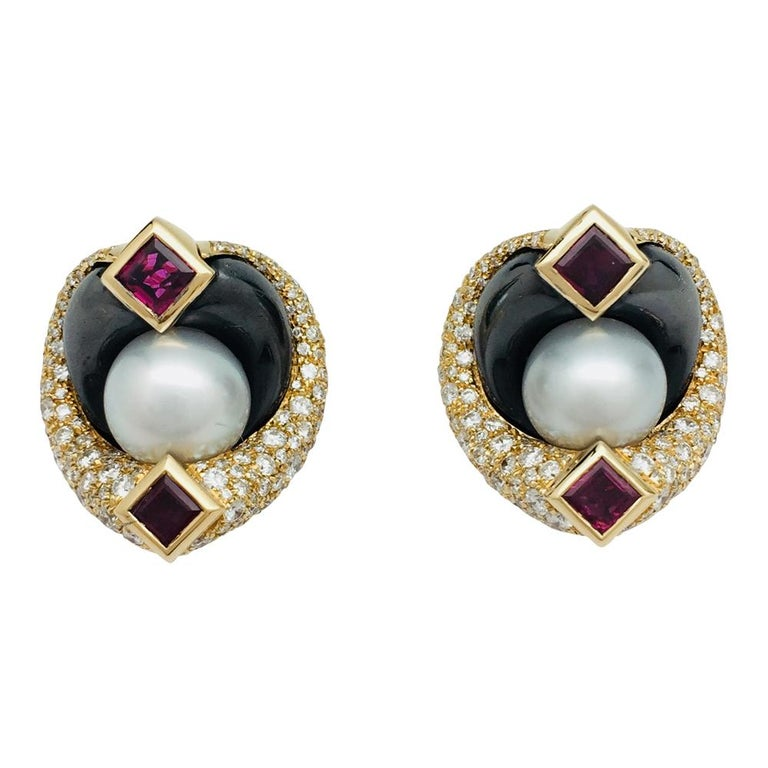 Yellow Gold Marina B. Earrings Set with Hematites, Rubies, Pearls, and Diamonds