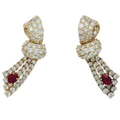 Yellow Gold Diamond and Ruby Chaumet Earrings