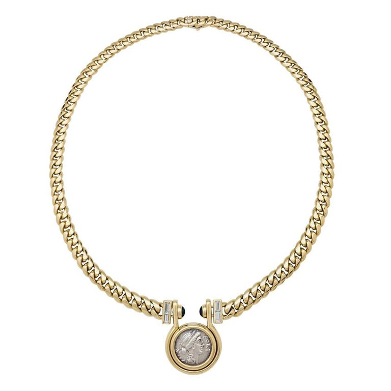 "Yellow Gold Bulgari Necklace, ""Monete"" Collection, Sapphires and Diamonds"