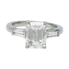 Platinum Van Cleef & Arpels, 2.01 Carat Emerald-Cut Diamond Ring
