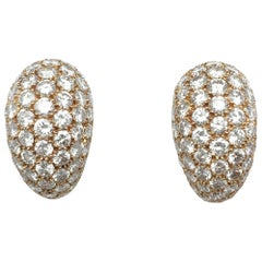 Yellow Gold Dome Earclips Paved with Diamonds