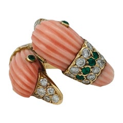 "Yellow Gold ""Ducks"" Van Cleef & Arpels Ring, Coral, Emeralds and Diamonds"