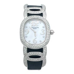 "White Gold Patek Philippe Watch ""Ellipse"" Collection, Mother-of-Pearl, Diamonds"