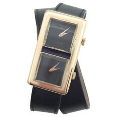 """Vintage Yellow Gold Chopard Watch """"Dualtime"""" Collection, Leather Band"""