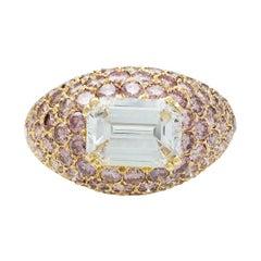 Poiray Paris Diamond Pink Gold Dome Ring