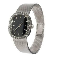 Patek Philippe Lady's White Gold Diamond Manual Wind Wristwatch Ref 4134/4