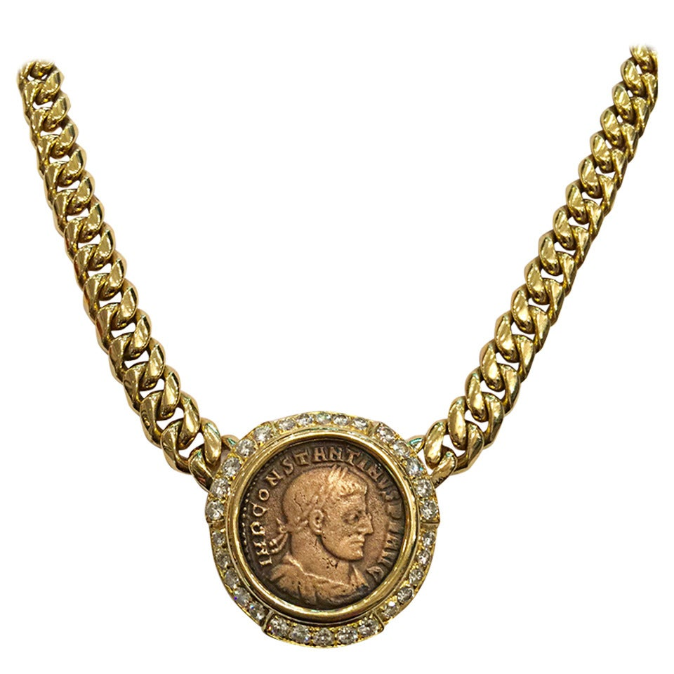 bronze constantino original diamond period roman rose coin ii d a necklace halo versilia teodosio pendant gold with i products